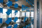 Modern office design with printed glass partitions